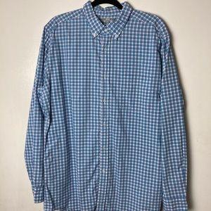 Uniqlo blue plaid l/s cotton button down. XL